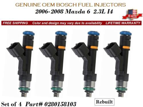 4 Fuel Injectors OEM BOSCH for 2006-2008 Mazda 6 2.3L I4 #0280158103