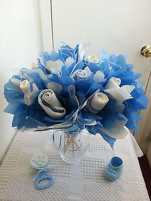 LITTLE PRINCE BLUE FLORAL SWIRL BOY DIAPER BASSINET BABY SHOWER TABLE DECORATION