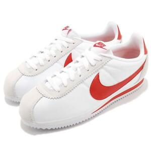 new concept 578a0 95170 Image is loading Nike-Classic-Cortez-Nylon-White-Habanero-Red-Men-