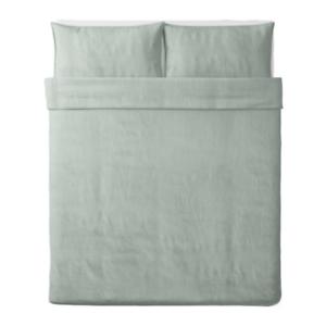 Ikea BERGPALM Full Queen Duvet Cover w  Pillowcases, Green Stripe,104.231.84 NEW
