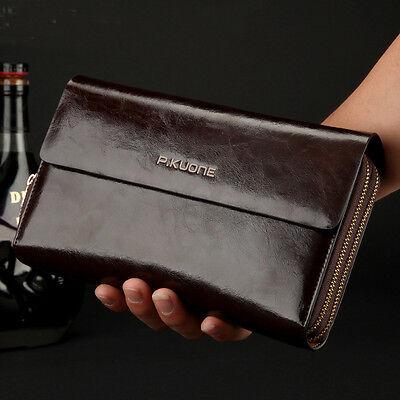 Vintage Mens Genuine Leather Wallet Clutch Purse Long Handbag Card Checkbook Bag