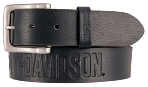 Harley-Davidson-Men-039-s-Embossed-Ride-The-Line-Leather-Belt-Black-HDMBT11331-BLK