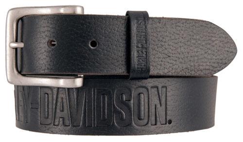 Harley-Davidson Men/'s Embossed Ride The Line Leather Belt Black HDMBT11331-BLK