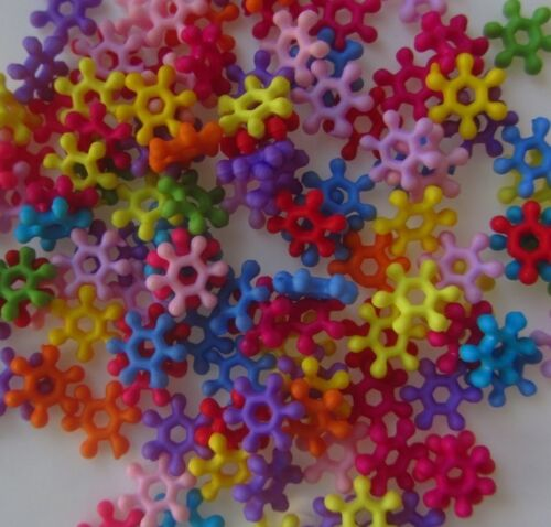 25 Mixed Colorful Snowflake Acrylic Spacer Beads Jewelry Findings