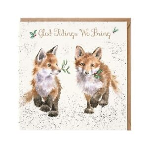 Fox Cubs Christmas Greeting Card Xmas Good Tidings by Wrendale Designs