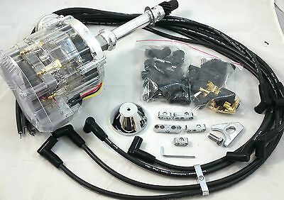 SB Chevy SBC 65,000 Volt Clear Cap H.E.I HEI Distributor Kit W/ Wires 327 350 V8