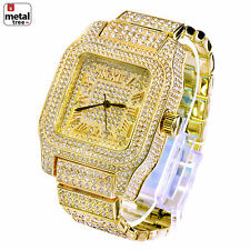 Men's Fashion Analog Stainless Steel Iced Out Heavy Metal Band Watches WM 7967 G