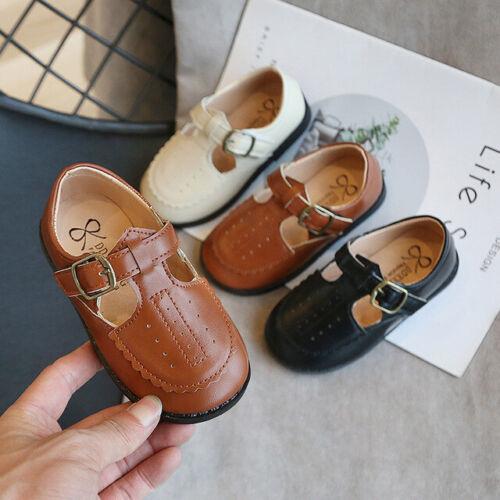 Kids Girls Flat T-Bar Party Wedding Shiny Patent Spanish School Shoes Size4.5-12