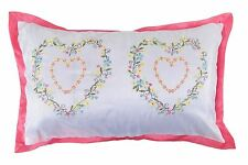 2 X EMBROIDERED HEART FLORAL BOUDOIR PINK WHITE GREEN CUSHION COVERS 30 X 50CM