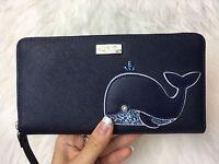 Kate Spade Neda Zip Around Wallet Off We Go Whale Multi Navy Blue Clutch