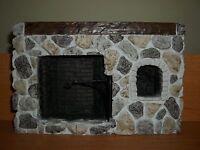 Large Stone Fireplace - Doll House Miniature
