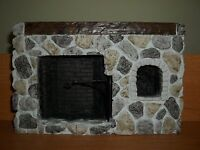 Large Stone Fireplace - Doll House Miniature