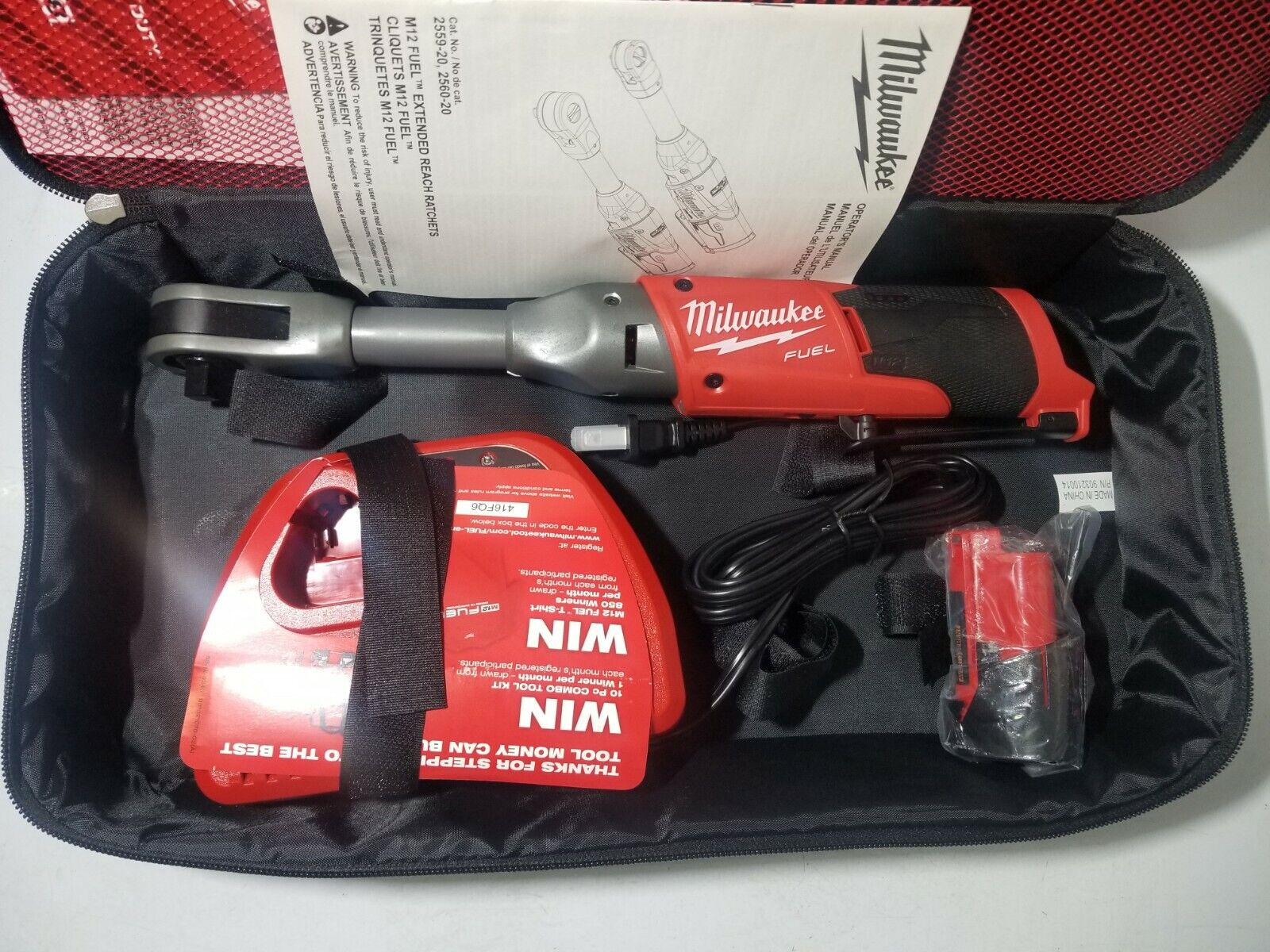 New Milwaukee M12 FUEL 3 8  dr Extended Reach Long Ratchet Kit 55 ft lbs 2560-21