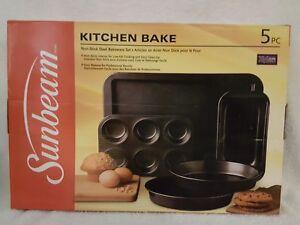 New 5 Piece Sunbeam Kitchen Bake Non Stick Steel Bakeware Set Ebay