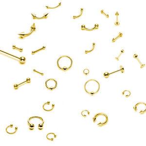 Zunge-Lippe-Augenbrauen-Nase-Intim-Brust-Piercing-Gold-Ohrpiercing-Helix-Tragus