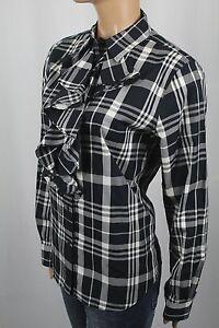 Ralph Lauren Black Cream Ruffle Blouse Shirt NWT