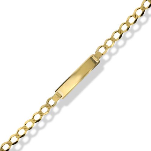 9CT GOLD SOLID IDENTITY CURB LINK  ID LADIES BRACELET FREE ENGRAVING GIFT BOXED