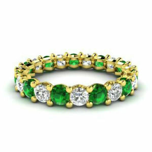 2.03 Ct Diamond Natural Emerald Eternity Band 14K Yellow Gold Bands Size N M J