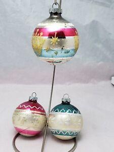 3-Vtg-Shiny-Brite-GLITTER-STENCIL-Christmas-Ornaments-Pink-and-Blue