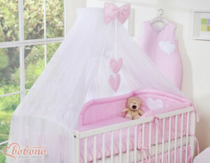 bobono baby bettset herzchen 3in1 himmel moskitonetz bettw sche herz 6 tlg neu ebay. Black Bedroom Furniture Sets. Home Design Ideas