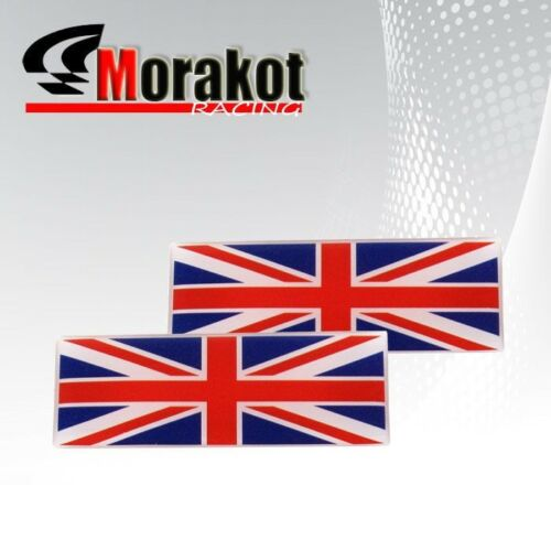 2x UK Flag Britian Union Jack Logo Dash Decal Sticker Emblem Fender Badge Bumper