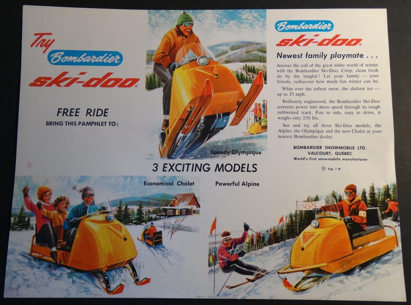 ORIGINAL VINTAGE BOMBARDIER SKI-DOO SNOWMOBILE SALES BROCHURE SINGLE PAGE (107)