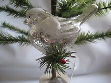 Mercury Glass Clip On BIRD  Christmas Ornament Antique Silver Snow Capped