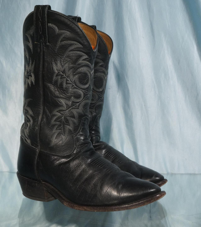 HandsomeTONY LAMA 7900 8.5EE Black Leather 13  Western Cowboy Boots