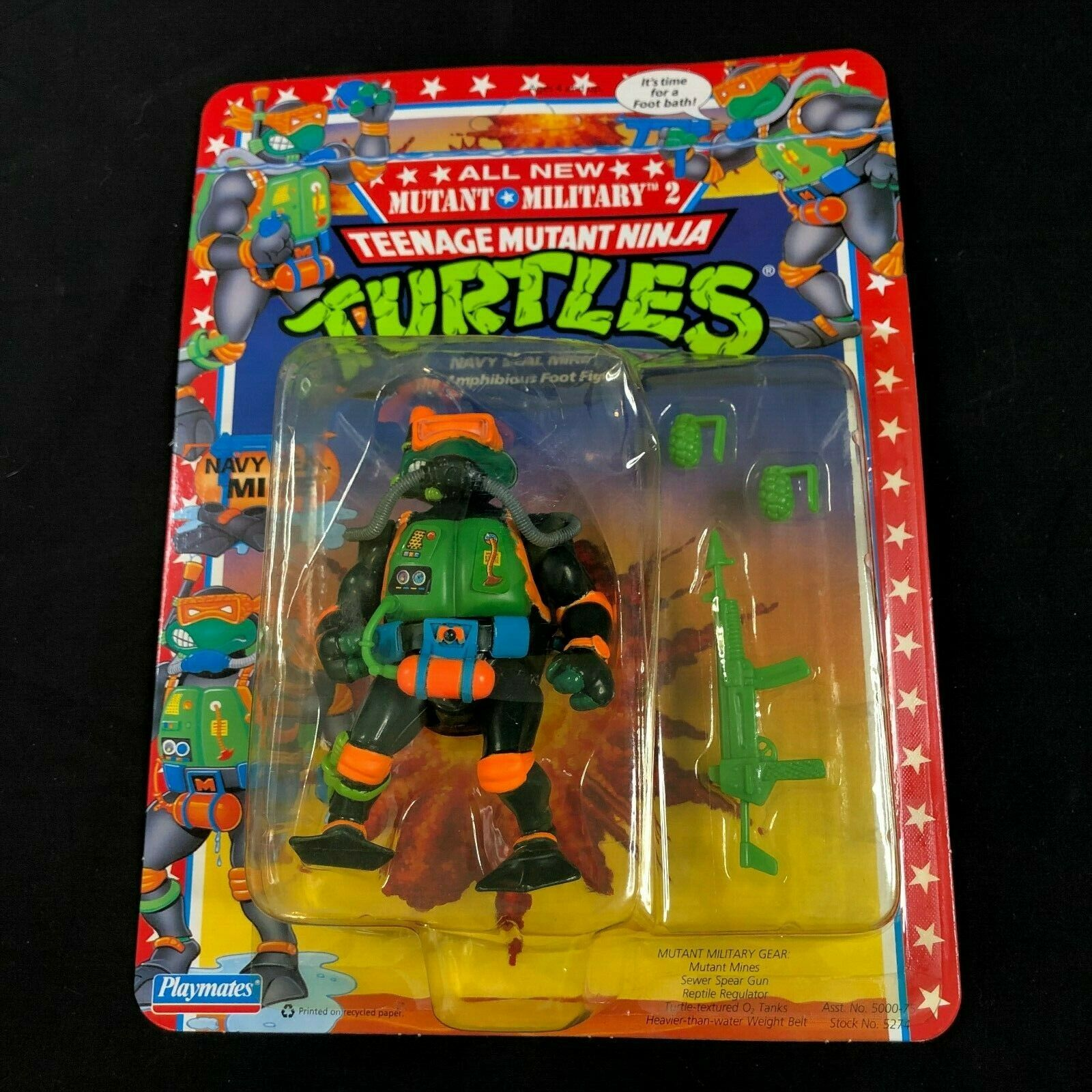 Vintage 1992 Teenage Mutant Ninja Turtles TEENAGE MUTANT NINJA TURTLES US Navy  Navy Seal Mike  raro duro encontrar la menta en tarjeta
