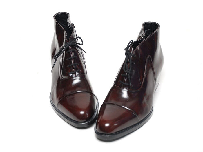Men's cap toe real brown leather high tops 1.77  heels ankle boots US 6.5-US 10