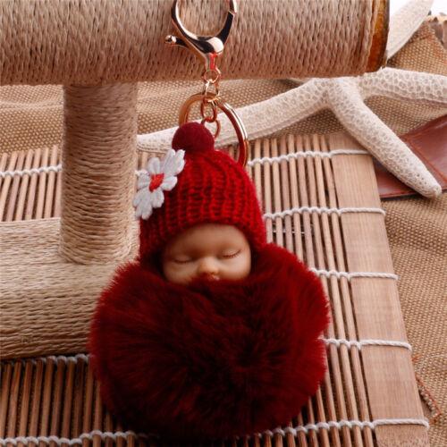 Cute Sleeping Baby Key chains Doll Rabbit Fur Fluffy PomPom Bag Decor Keyrings