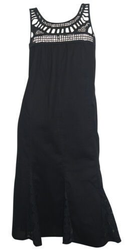Aniston Robe T 34 Noir été ROMANTISME plage robe dentelle coton