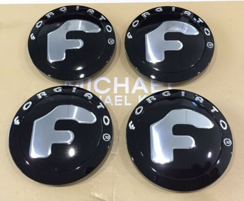 Forgiato Wheels Silver Black Custom Wheel Center Cap # 238K70 Set Of 4 Pcs