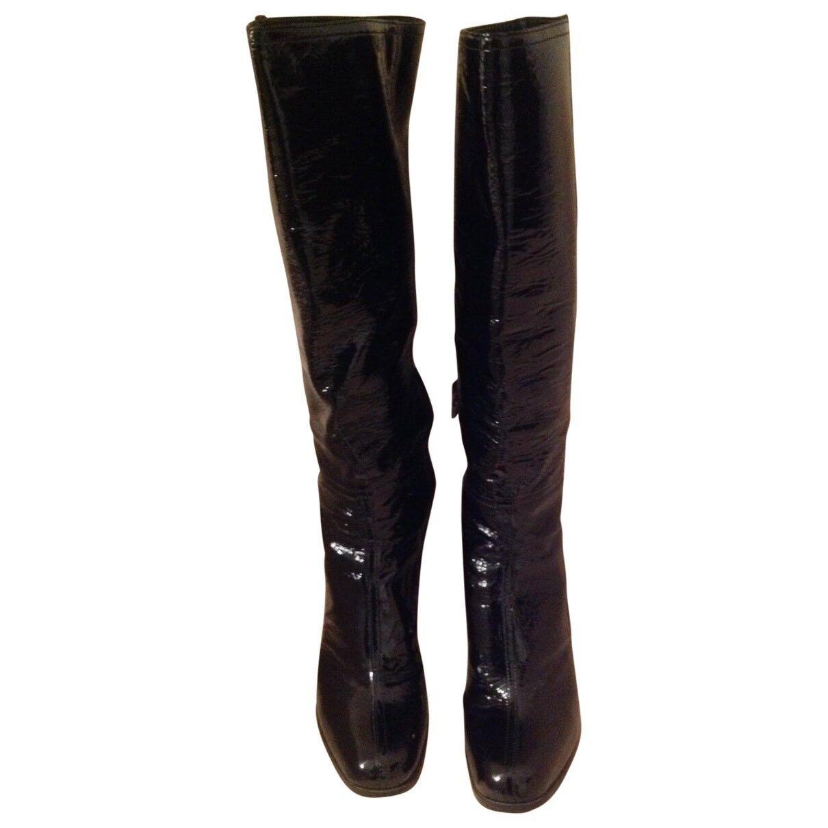 Prada Knee High Black Boot 39 Patent Leather