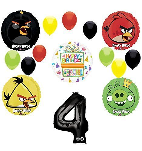 Buy Angry Birds Balloons Party Supplies 4th Birthday Bouquet Decorations Online