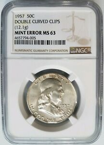 1957-Franklin-Silver-Half-Dollar-NGC-MS-63-Double-Curved-Clips-Mint-Error-Clip