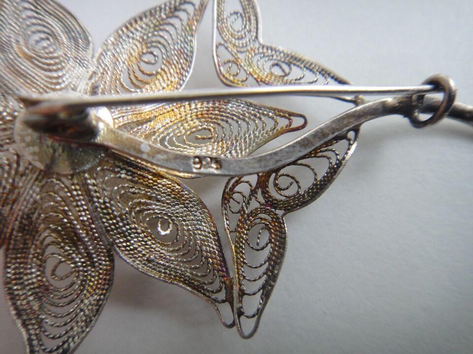 Broche, sølv, Vintage filigran 925 Sølv