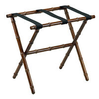 Luggage Racks - Canton Bamboo Inspired Wooden Luggage Rack - Black Nylon Straps