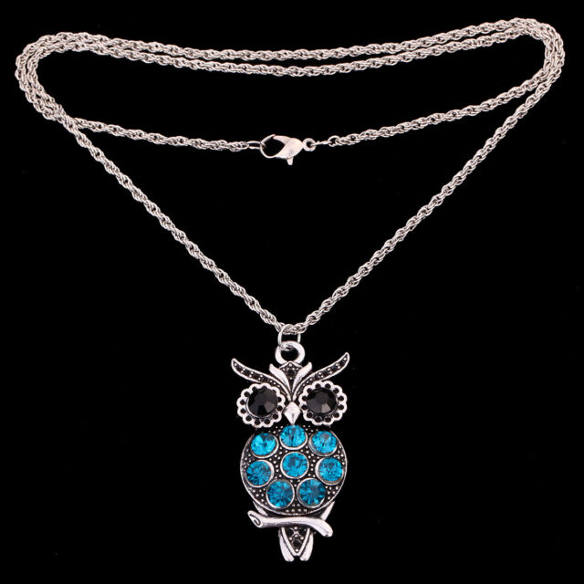 Tibetan Silver Xmas party Jewelry Blue crystal Owl Pendant long chain Necklace