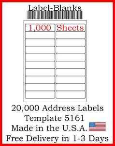 250 Sheets 20000 Laser//Ink Jet Labels 80up 1.75 x .5  Compatible w// Size 67