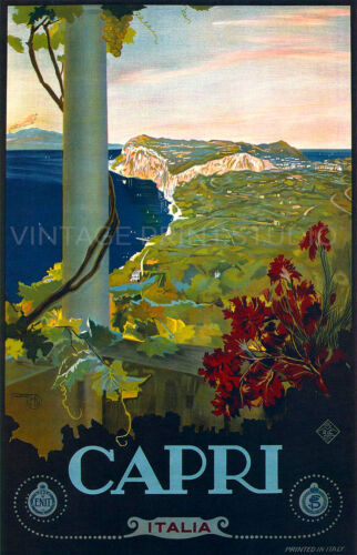 1920 Vintage Italian Travel Poster Giclee Canvas Print 20x31 CAPRI ITALIA