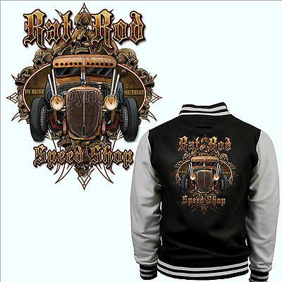 * Varsity College Jacke Hot Rod Rockabilly Kustom Vintage Speed Shop *1077 Um Zu Helfen, Fettiges Essen Zu Verdauen