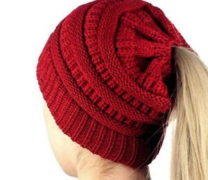 Women-039-s-Girls-Valentines-Red-Ponytail-Beanie-Knitted-Red-Stretchy-Winter-Hat