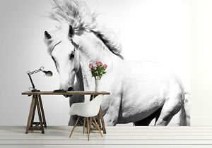 Horse Wall Murals photo wallpaper white horse wall mural mustang 320x230cm giant