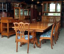 Antique Victorian Fancy Oak Dining Set – 15 pieces Table, China, Server, 12 chai