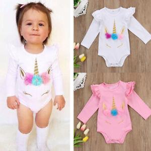 4c227263c Image is loading UK-Stock-Unicorn-Baby-Girls-Romper-Bodysuit-Cotton-