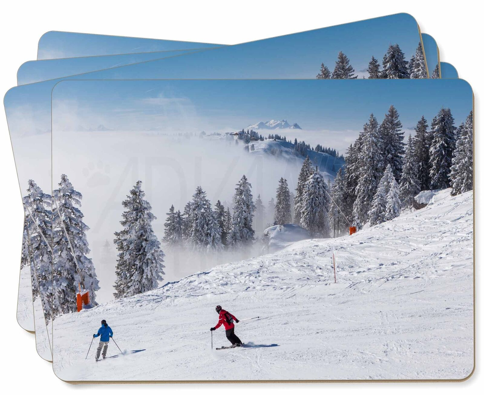 Snow Ski Skiers on Mountain Picture Placemats in Gift Box, SKI-1P