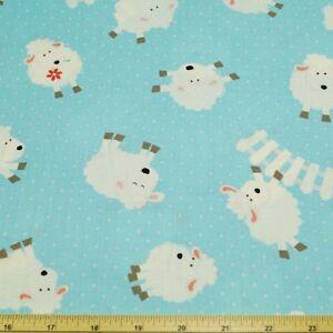 Sale-Baa-Baa-Fluffy-Sheep-Jumping-Fence-Polka-Dots-100-Cotton-Patchwork-Fabric