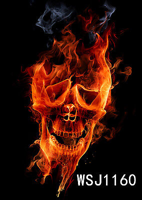 Halloween Angry Fire Skull LB Photography Backdrop Background Studio Props 3X5FT