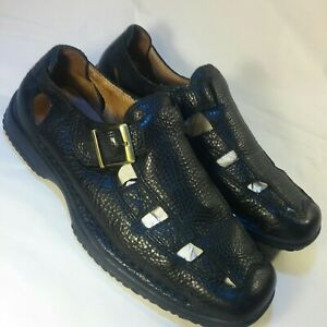 nice mens geox casual buckle pullon loafers sandals black